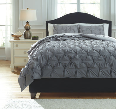 Rimy - Gray - Queen Comforter Set