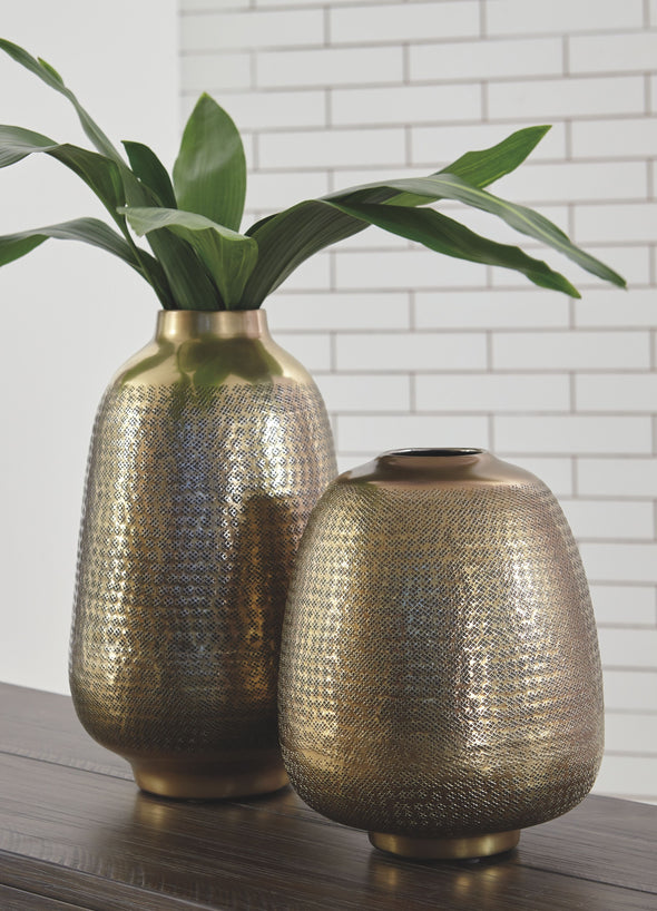 Miette - Antique Brass Finish - Vase Set (2/CN)