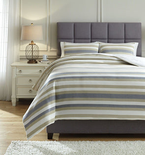 Isaiah - Gray/Tan - Queen Comforter Set