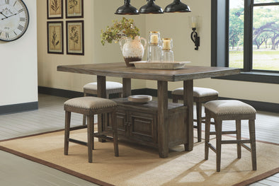 Wyndahl - Rustic Brown - 5 Pc. - RECT Counter Table with Storage & 4 UPH Stool