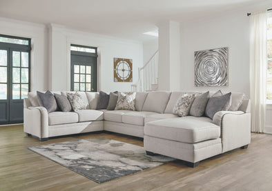 Dellara - Chalk - LAF Loveseat, Wedge, Armless Loveseat, Armless Chair & RAF Corner Chaise Sectional
