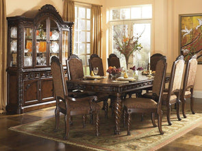 North Shore - Dark Brown - 9 Pc. - RECT DRM EXT Table, 6 UPH Side Chairs & 2 UPH Arm Chairs