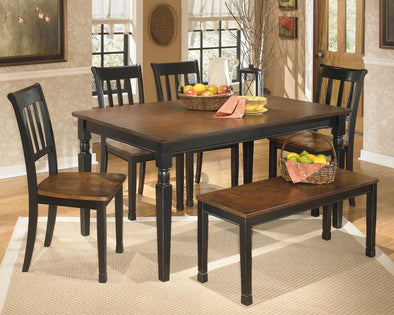 Owingsville - Black/Brown - 6 Pc. - RECT DRM Table, 4 Side Chairs & Bench