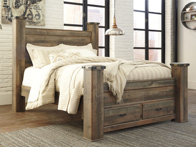 Trinell - Brown -  Poster Storage Bed