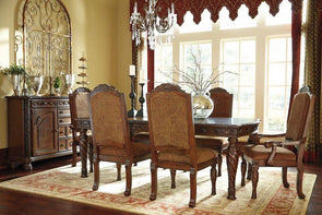 North Shore - Dark Brown - 7 Pc. - RECT DRM EXT Table, 4 UPH Side Chairs & 2 UPH Arm Chairs