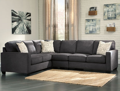 Alenya - Charcoal - RAF Loveseat, LAF Sofa & Armless Chair Sectional