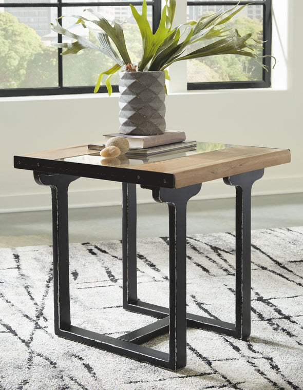 Calkosa - Brown/Black - Rectangular End Table