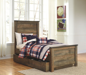 Trinell - Brown -  Panel Bed with Trundle Storage Box
