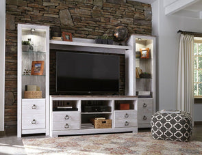 Willowton - Whitewash - LG TV Stand with Fireplace Option, 2 Piers & Bridge