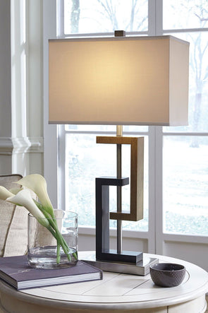 Syler - Brown/Silver Finish - Poly Table Lamp (2/CN)