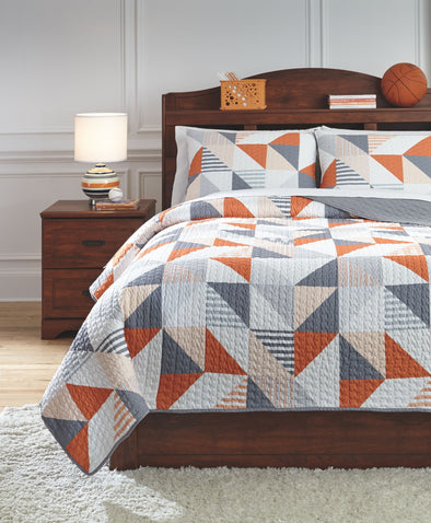 Layne - Gray/Orange -  Coverlet Set