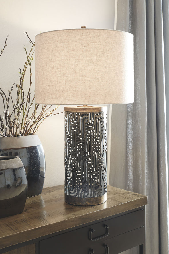 Dayo - Gray/Gold Finish - Metal Table Lamp (1/CN)