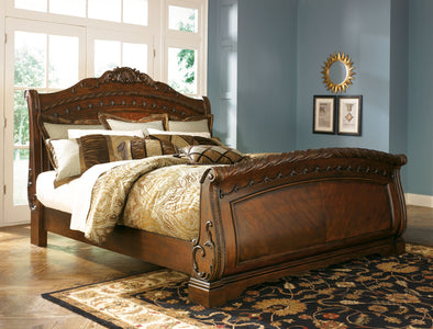North Shore - Dark Brown -  Sleigh Bed