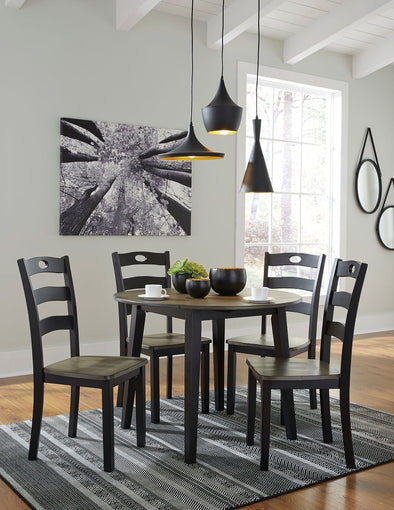Froshburg - Grayish Brown/Black - 5 Pc. - Drop Leaf Table & 4 Side Chairs