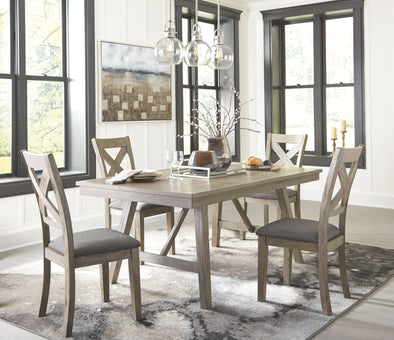 Aldwin - Gray - 5 Pc. - RECT DRM Table & 4 UPH Side Chairs
