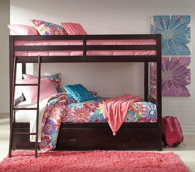 Halanton - Dark Brown - / Bunk Bed with Under Bed Storage