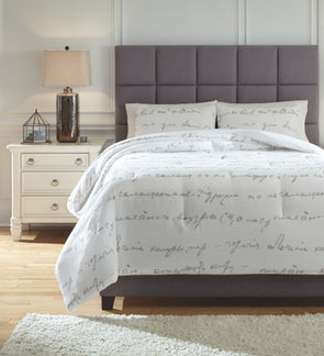 Adrianna - White/Gray - Queen Comforter Set