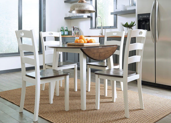 Woodanville - White/Brown - 5 Pc. - Round DRM Drop Leaf Table & 4 Side Chairs