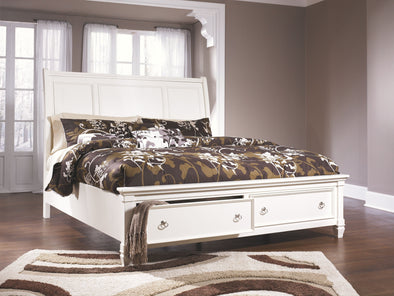 Prentice - White -  Sleigh Storage Bed