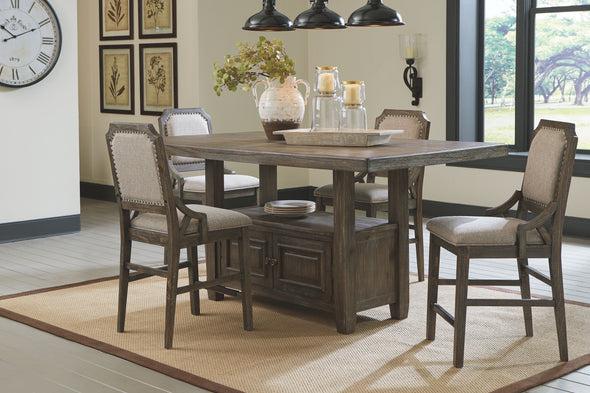 Wyndahl - Rustic Brown - 5 Pc. - RECT Counter Table with Storage & 4 UPH Barstools