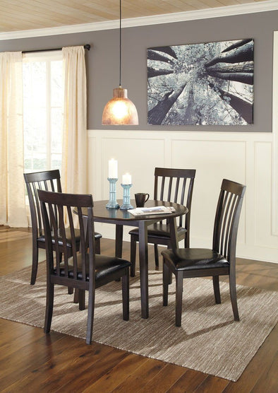 Hammis - Dark Brown - 5 Pc. - Round DRM Drop Leaf Table & 4 UPH Side Chairs