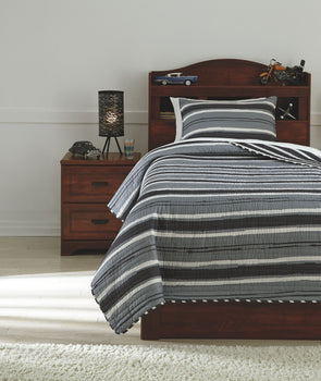 Merlin - Gray/Cream -  Coverlet Set