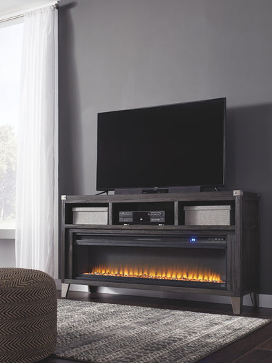 Todoe - Gray - LG TV Stand with Wide Fireplace Insert