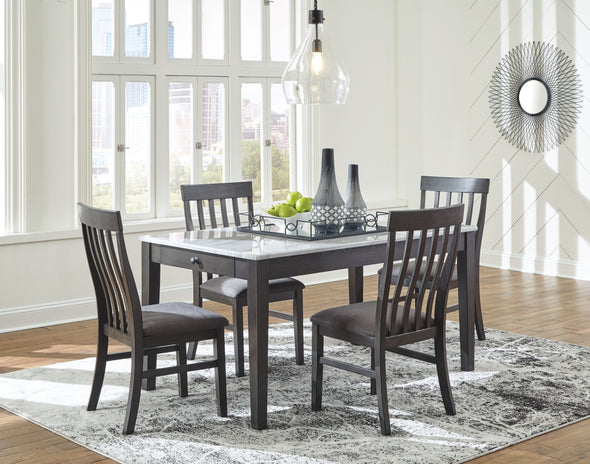 Luvoni - White/Dark Charcoal Gray - 5 Pc. - RECT DRM Table & 4 UPH Side Chairs