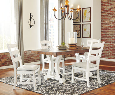 Valebeck - White/Brown - 5 Pc. - RECT DRM Table & 4 UPH Side Chairs