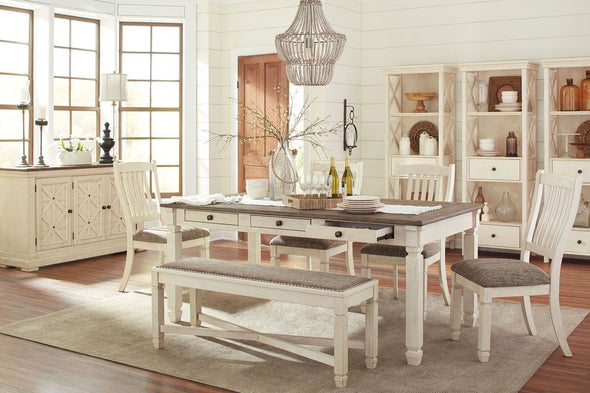 Bolanburg - Antique White - 10 Pc. - RECT DRM Table, 4 UPH Side Chairs, UPH DRM Bench, DRM Server & 3 Display Cabinets