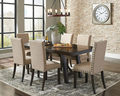 Rokane - Brown - 7 Pc. - RECT DRM EXT Table & 6 UPH Side Chairs