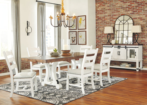 Valebeck - White/Brown - 8 Pc. - RECT DRM Table, 6 UPH Side Chairs & Server