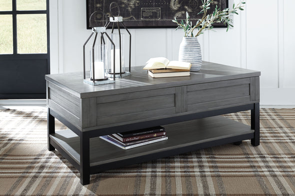 Caitbrook - Gray/Black - Rect Lift Top Cocktail Table