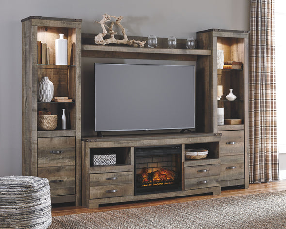 Trinell - Entertainment Center - LG TV Stand, 2 Tall Piers, Bridge with Fireplace Insert Infrared
