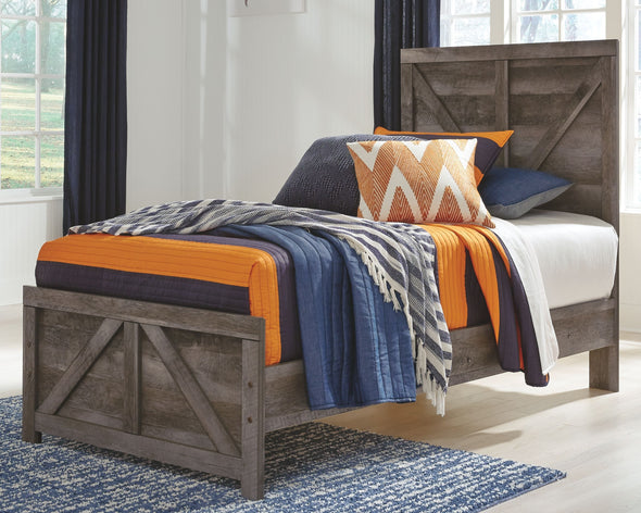 Wynnlow - Gray -  Crossbuck Twin Panel Bed