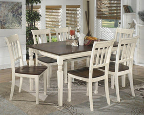 Whitesburg - Brown/Cottage White - 7 Pc. - RECT DRM Table & 6 Side Chairs