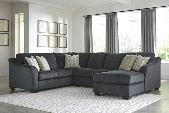 Eltmann - Slate - LAF Sofa with Corner Wedge, Armless Loveseat & RAF Corner Chaise Sectional