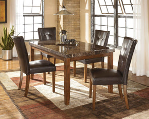 Lacey - Medium Brown - 5 Pc. - RECT DRM Table & 4 UPH Side Chairs