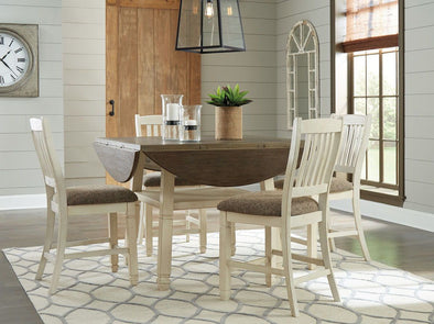Bolanburg - Two-tone - 5 Pc. - Round Drop Leaf Counter Table & 4 UPH Barstools