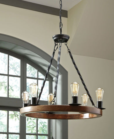 Plato - Brown/Black - Wood Pendant Light (1/CN)