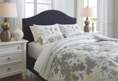 Maureen - Gray/Yellow - Queen Comforter Set