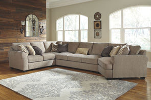 Pantomine - Driftwood - LAF Loveseat, Wedge, Armless Sofa & RAF Cuddler Sectional
