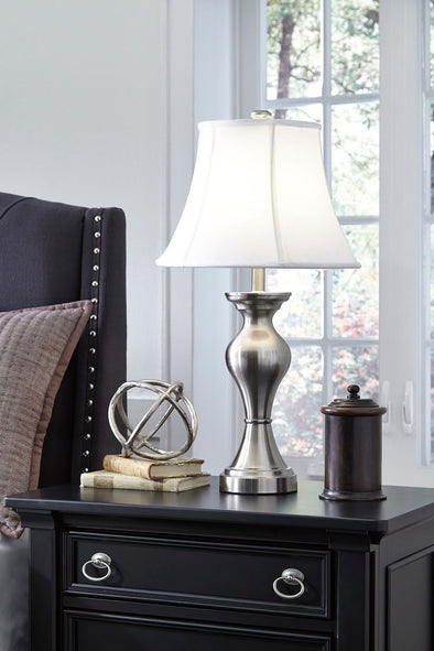 Rishona - Brushed Silver Finish - Metal Table Lamp (2/CN)