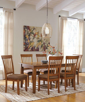Berringer - Rustic Brown - 7 Pc. - RECT DRM Table & 6 Side UPH Chairs