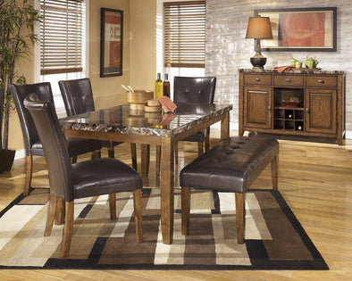 Lacey - Medium Brown - 6 Pc. - RECT DRM Table, 4 UPH Side Chairs & Large UPH Bench