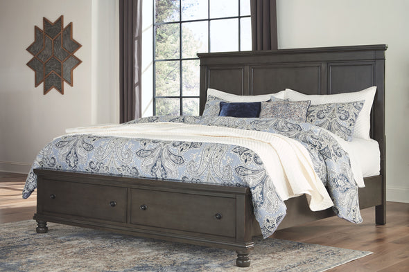 Devensted - Dark Gray -  Panel Storage Bed