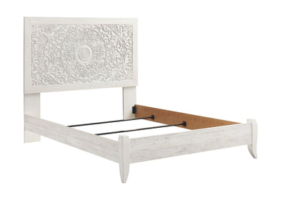 Paxberry - Whitewash - King Panel Footboard w/ Rails