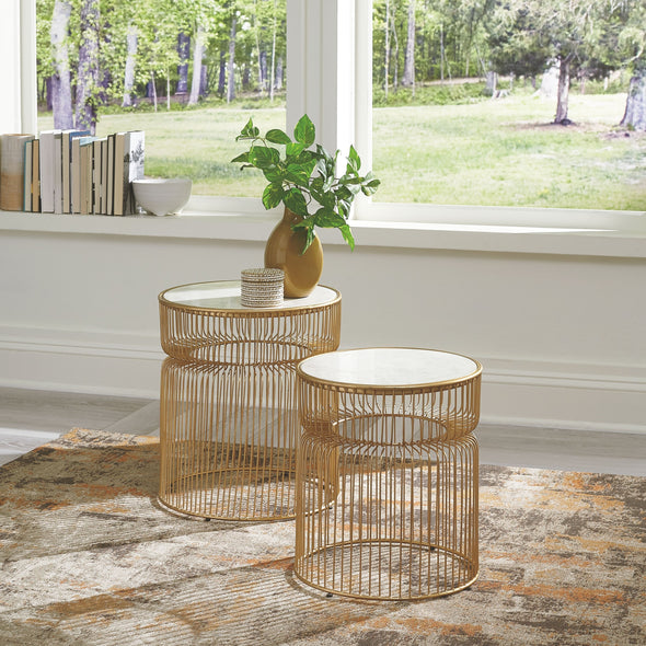 Vernway - White/Gold Finish - Accent Table Set (2/CN)