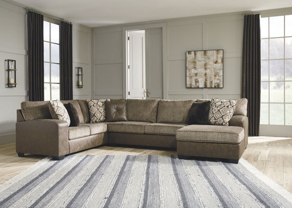 Abalone - Chocolate - LAF Sofa, Armless Loveseat & RAF Corner Chaise Sectional