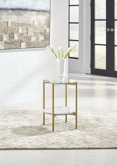 Wynora - White/Gold - Round End Table
